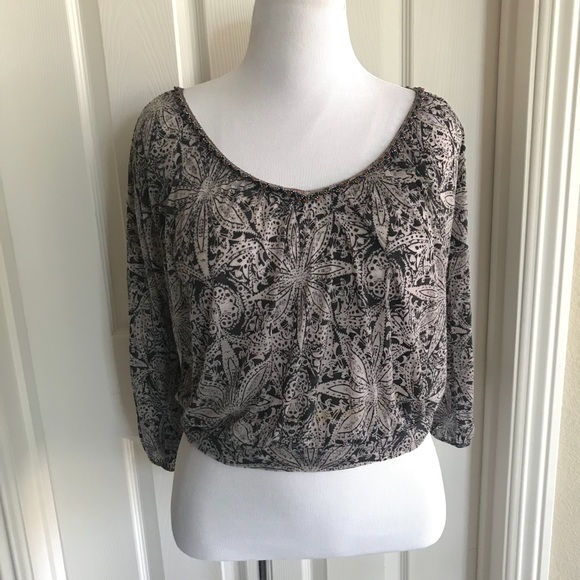 Brand New Semi-Sheer Burnout Beaded T-Shirt Top